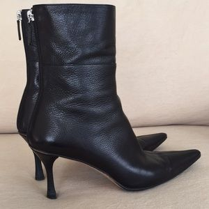 Gucci Black Leather Mid Calf Boots 6.5